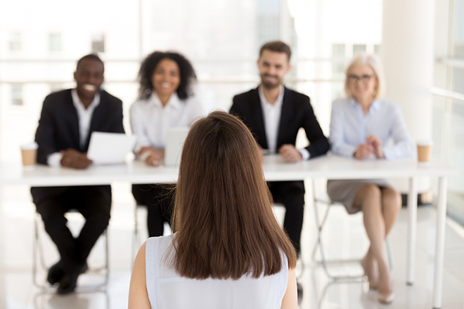Job interview panel with woman